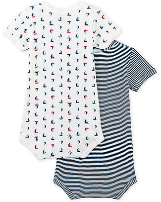 Petit Bateau Short-Sleeved Bodysuit, 2-pack, Light blue shades - 100% cotton Short Sleeves Bodies