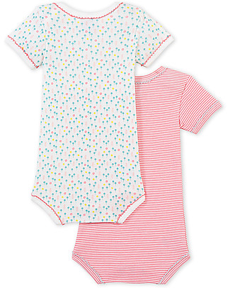 Petit Bateau Short-Sleeved Bodysuit, 2-pack, Pink shades - 100% cotton Short Sleeves Bodies