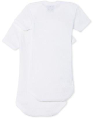 Petit Bateau Short Sleeved Bodysuit, 2-pack - White  - 100% Cotton Short Sleeves Bodies