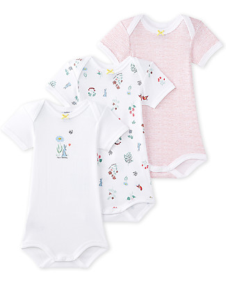 Petit Bateau Short Sleeved Bodysuit, 3-pack - Assorted Patterns! - 100% Cotton Short Sleeves Bodies