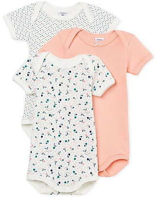 Petit Bateau Short Sleeved Bodysuit, 3-pack - Cherries/Dots - 100% Cotton Short Sleeves Bodies