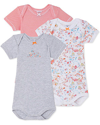 Petit Bateau Short Sleeved Bodysuit, 3-pack - Flowers - 100% cotton Short Sleeves Bodies