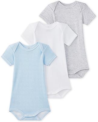 Petit Bateau Short Sleeved Bodysuit, 3-pack - Plain Colour: Light Blue, White, Grey - 100% Cotton Short Sleeves Bodies