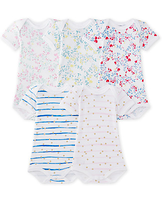 Petit Bateau Short Sleeved Bodysuit, 5-pack - Flowers and Dots with Stripes Pattern! - 100% Cotton Short Sleeves Bodies