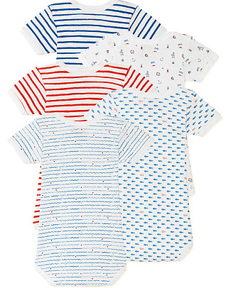 Petit Bateau Short Sleeved Bodysuit, 5-pack - Nautical Style - 100% Cotton Short Sleeves Bodies