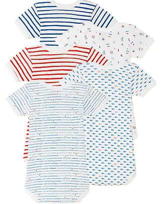 Petit Bateau Short Sleeved Bodysuit, 5-pack - Nautical Style - 100% Cotton Short Sleeves Bodies