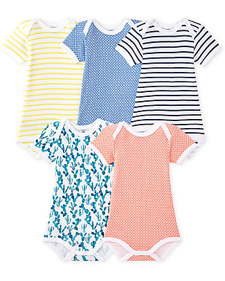 Petit Bateau Short Sleeved Bodysuit, 5-pack - Stripes and Dots in Many Colours! - 100% Cotton Short Sleeves Bodies