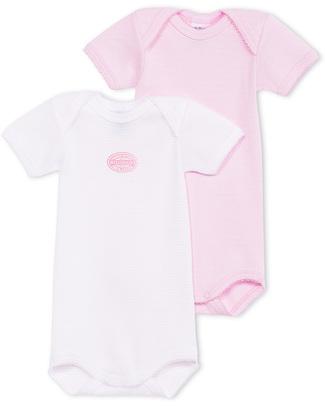 Petit Bateau Short-Sleeved Bodysuit - Pink Needlecord - 100% Cotton Short Sleeves Bodies
