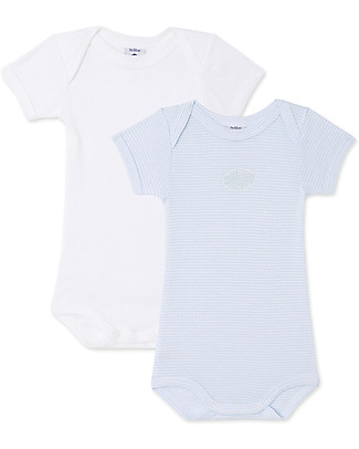 Petit Bateau Short-Sleeved Bodysuits (Set of 2) - Blue and White Stripes - 100% Cotton Short Sleeves Bodies