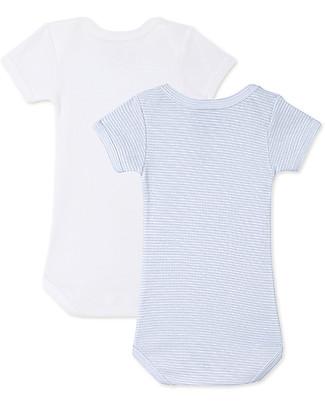 Petit Bateau Short-Sleeved Bodysuits (Set of 2) - Blue and White Stripes - 100% Cotton Short Sleeves Bodies