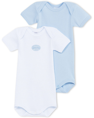 Petit Bateau Short-Sleeved Bodysuits (Set of 2) - Blue Needlecord - 100% Cotton Short Sleeves Bodies