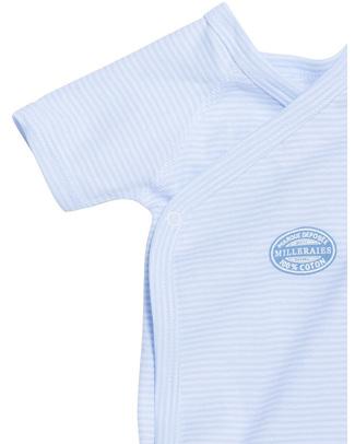 Petit Bateau Short-Sleeved Kimono Bodysuit - Blue Needlecord - 100% Cotton Short Sleeves Bodies