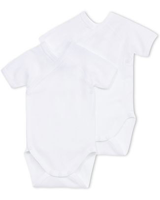 Petit Bateau Short-Sleeved Kimono Bodysuits (Set of Two) - White - 100% Cotton Short Sleeves Bodies