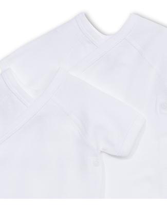 Petit Bateau Short-Sleeved Kimono Bodysuits (Set of Two) - White - 100% Cotton Short Sleeves Bodies
