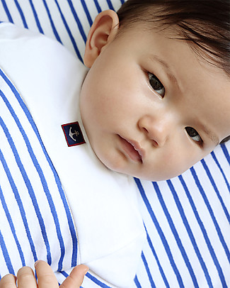 Petit Bateau Short Sleeves Baby Romper, White/Navy Short Rompers