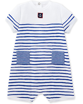 Petit Bateau Short Sleeves Baby Romper, White/Navy Short Rompers