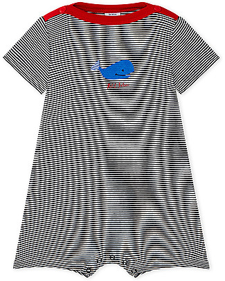 Petit Bateau Short Striped Onepiece with Blue Whale - Perfect for Summer! Short Rompers