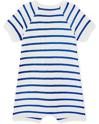 Petit Bateau Short Striped Onepiece with Yellow Sailboat - Perfect for Beach! Short Rompers
