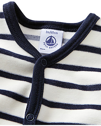 Petit Bateau Stripes Long Sleeved Onepiece, Off-White and Navy - Velour Babygrows