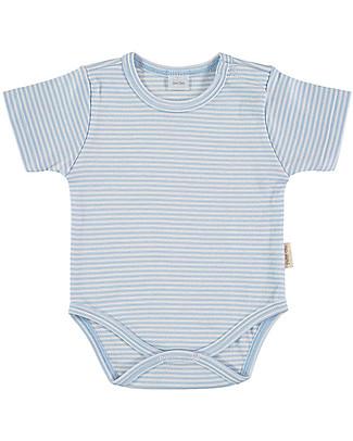 Petit Oh! Basic Body, Short Sleeved - Stripes Light Blue/White - 100% Pima Cotton Short Sleeves Bodies
