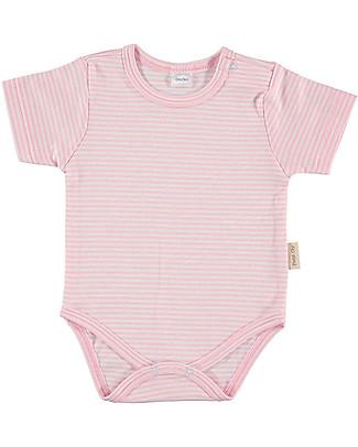Petit Oh! Basic Body, Short Sleeved - Stripes Pink/White - 100% Pima Cotton Short Sleeves Bodies