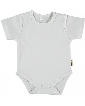 Petit Oh! Basic Body with Short Sleeves, White - Pima Cotton Short Sleeves Bodies