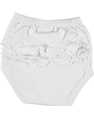 Petit Oh! Braguita Poppy Nappy Cover, White - Pima Cotton Shorts