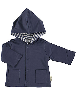 Petit Oh! Hooded Cardigan with Snaps, Reversible, Blue/White - 100% Pima Cotton Sweatshirts