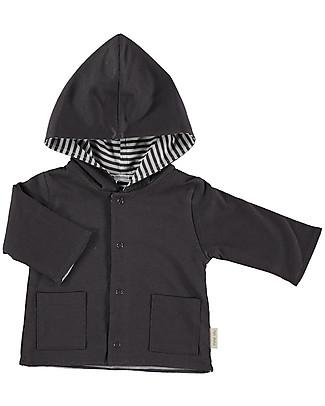 Petit Oh! Hooded Cardigan with Snaps, Reversible, Grafite/White - 100% Pima Cotton Sweatshirts