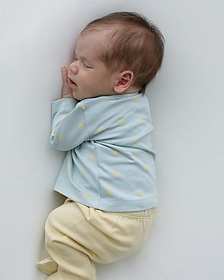Petit Oh! Kimono Side-Snap Tee, Aqua/Yellow - Pima Cotton Long Sleeves Tops