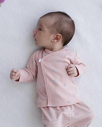 Petit Oh! Kimono Side-Snap Tee, Rose/Aqua - Pima Cotton Long Sleeves Tops
