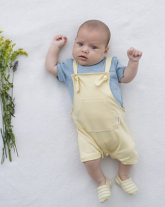 Petit Oh! Nasa Overall, Yellow - 100% Pima Cotton Dungarees