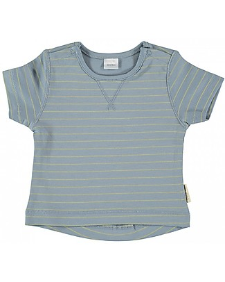 Petit Oh! Nube T-Shirt, Ice/Yellow Stripes - Pima Cotton T-Shirts And Vests