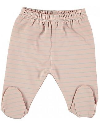 Petit Oh! Polaina Footed Pant, Rose/Aqua - Pima Cotton Trousers