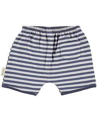 Petit Oh! Short Tan-Tan, Blue/Sand Stripes - 100% Pima Cotton Shorts