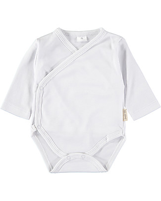 Petit Oh! Side Snap Body with Long Sleeves, White - 100% Pima Cotton Long Sleeves Bodies