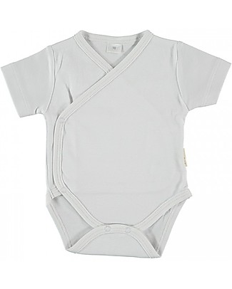 Petit Oh! Side Snap Body with Short Sleeves, White - Pima Cotton Short Sleeves Bodies