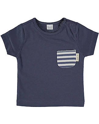 Petit Oh! Tan-Tan T-Shirt with Pocket, Sand/Blue Stripes - 100% Pima Cotton T-Shirts And Vests