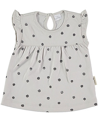 Petit Oh! Tan-Tan Tee, Short Sleeves, Black Dots - 100% Pima Cotton Evening Tops