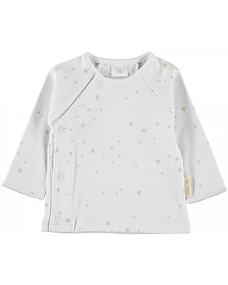 Petit Oh! Tim T-shirt with Asymmetrical Fastening, Aqua Stars - 100% Pima Cotton Long Sleeves Tops