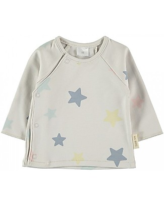 Petit Oh! Tim T-shirt with Asymmetrical Fastening, Omega - 100% Pima Cotton Long Sleeves Tops