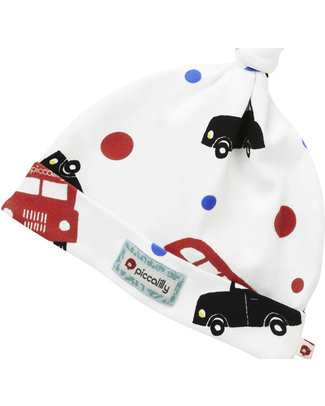Piccalilly London Bus Print Knotted Hat - Organic Cotton Hats