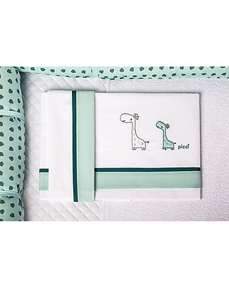 Picci 3-Pieces Bed Set for Converse Cot, Aqua - Pillowcase, bed sheet and fitted sheet Bed Sheets