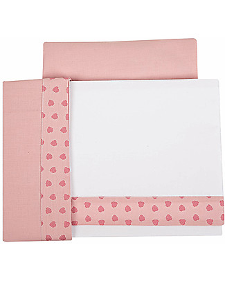 Picci 3-Pieces Bed Set for Lella Co-Sleeping Cot, Pink Leaves - Pillowcase, cover sheet and fitted sheet Bed Sheets