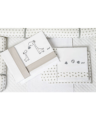Picci 3-Pieces Bed Set Nina Range, Giraffes Embroidery, Grey - Pillowcase, cover sheet and fitted sheet Bed Sheets
