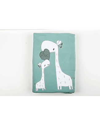 Picci Fleece Baby Blanket, Aqua/Giraffe – 115 x 150 cm Blankets
