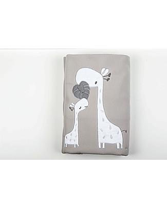 Picci  Fleece Baby Blanket, Grey+Giraffe - 115 x 150 cm Blankets