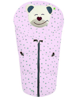 Picci Mucki Small with Clips, Pink + Stars - Universal footmuff for car seat and carrycot Footmuffs