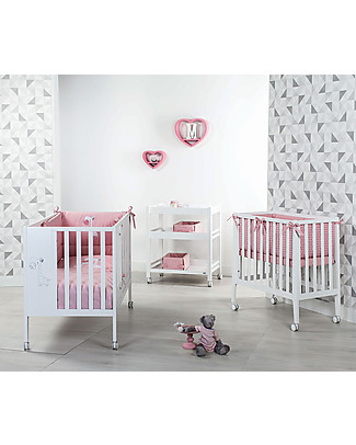 Picci Nina Converse, 2-in-1 Beech Wood Crib and Bed with Bars, White Cots & Cotbeds