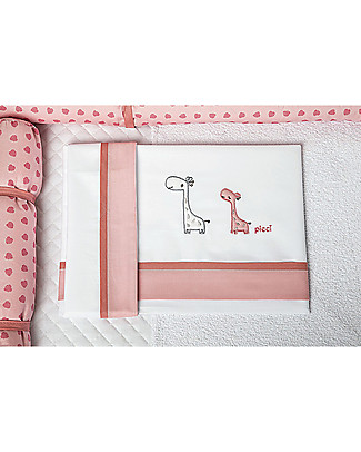 Picci OUTLET - 3-Pieces Bed Set for Converse Cot, Pink - Pillowcase, bed sheet and fitted sheet - Damaged Packaging Bed Sheets